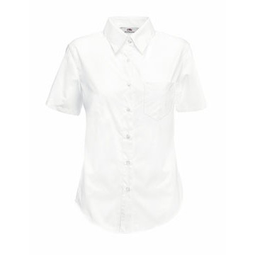 Fruit of the Loom Lady-Fit Short Sleeve Poplin Shirt ing fehér