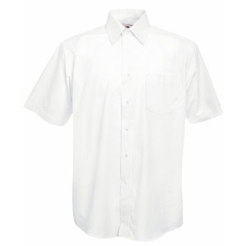 Fruit of the Loom Short Sleeve Poplin Shirt-Poplin ing fehér
