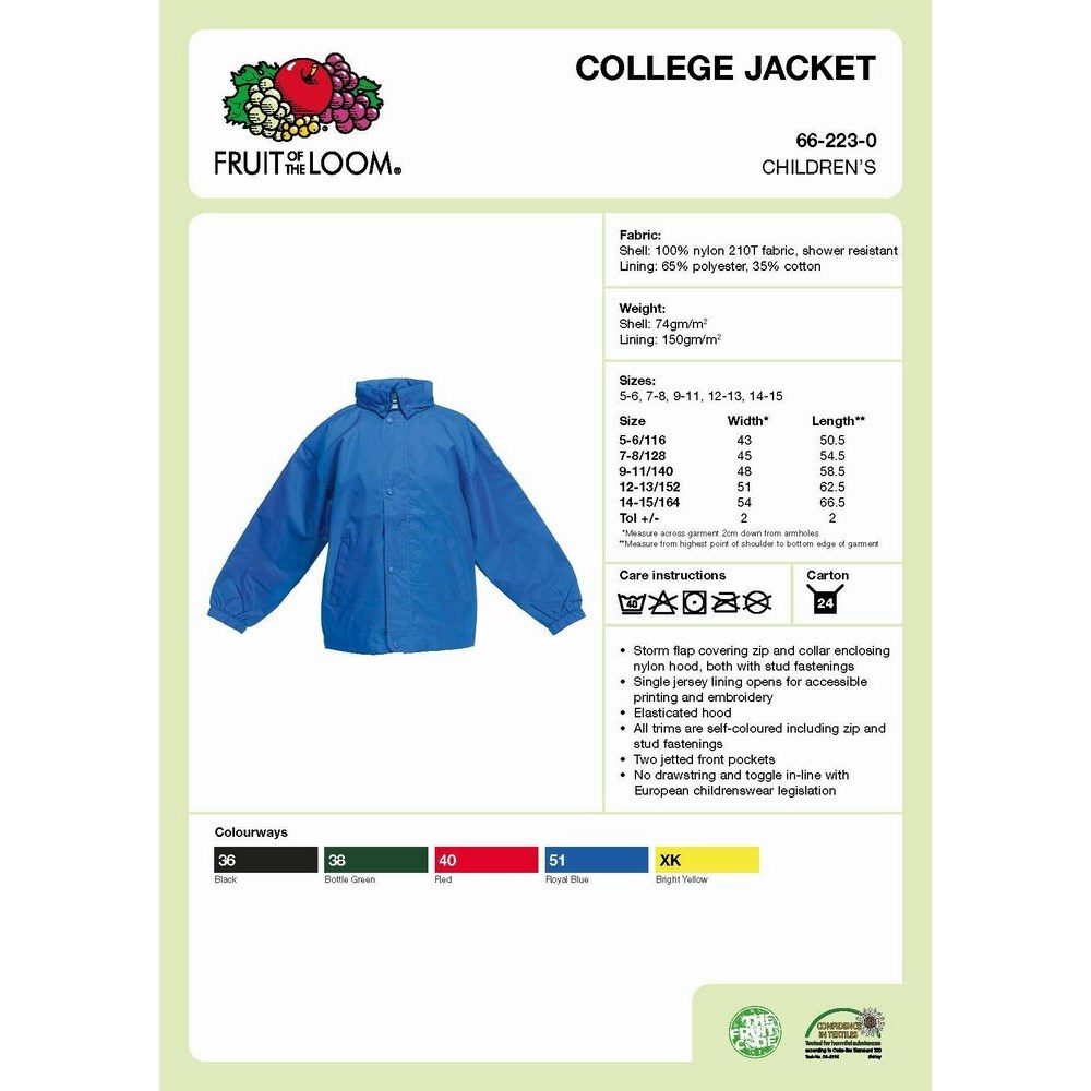 Fruit Kids College Jacket-gyerekek kabát