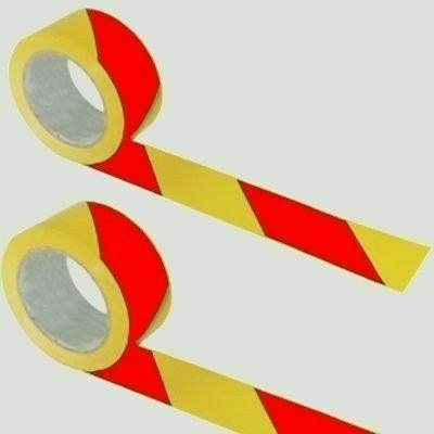 Közúti jelzőszalag, piros-sárga, 200 m hosszú, 7 cm széles
