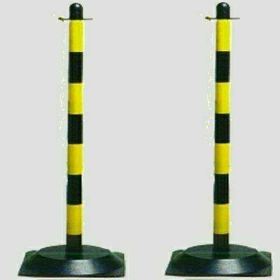 Tartóoszlop lánchoz, 90 cm magas, vízzel tölthető talppal sárga