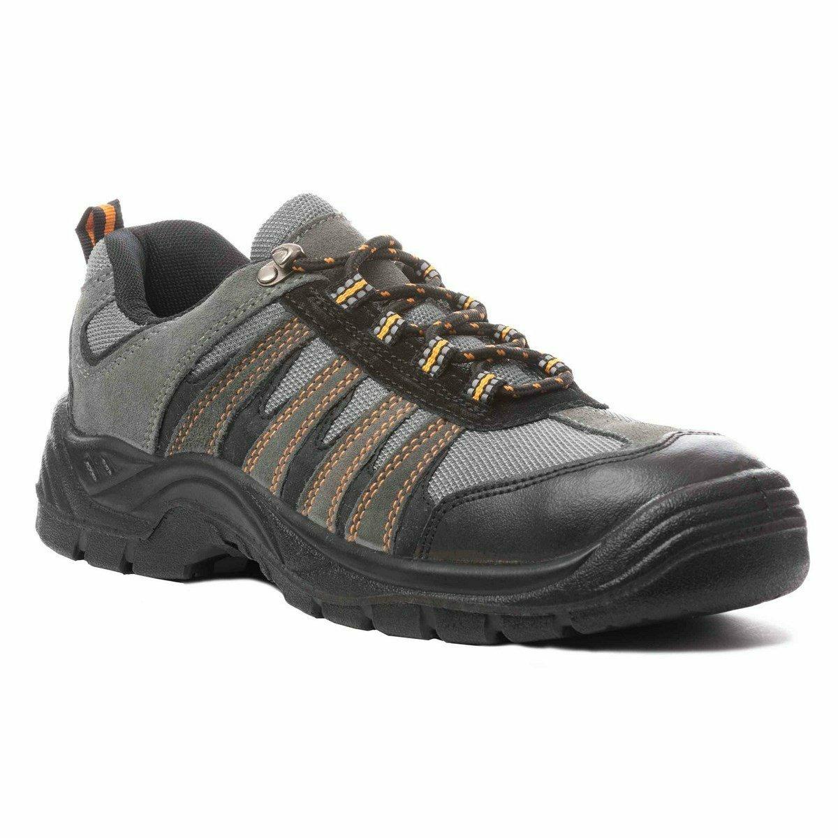 DIAMANT S1P szürke nubuk bőr cipő, szellőző gyöngyvászon