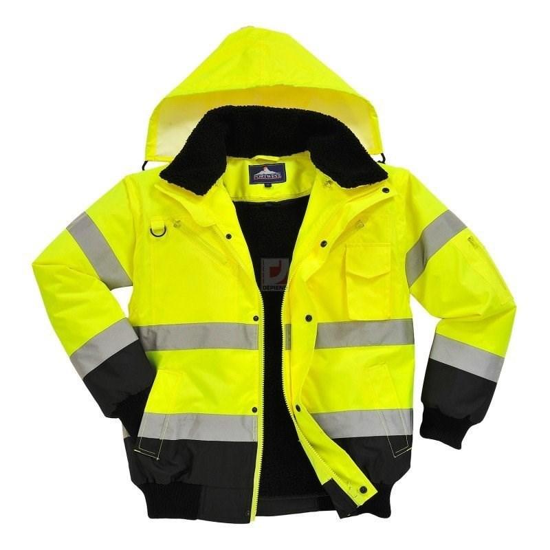 Jól láthatósági bomber dzseki sárga / fekete