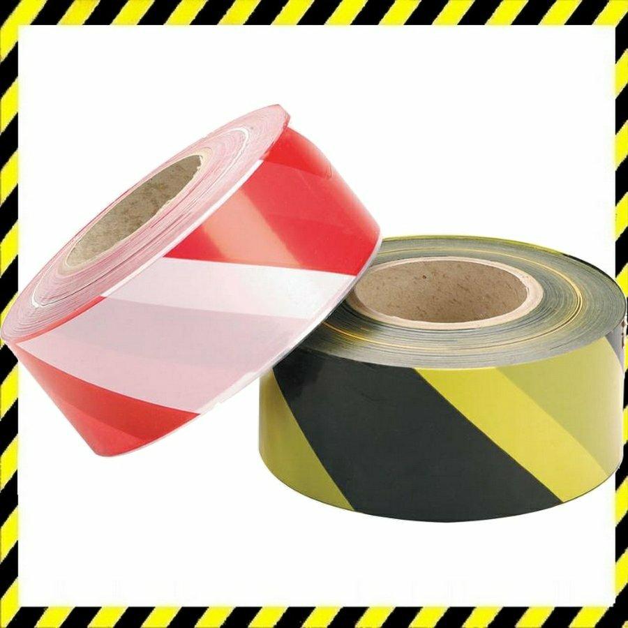 JSP figyelmeztető szalag fekete/sárga 500m