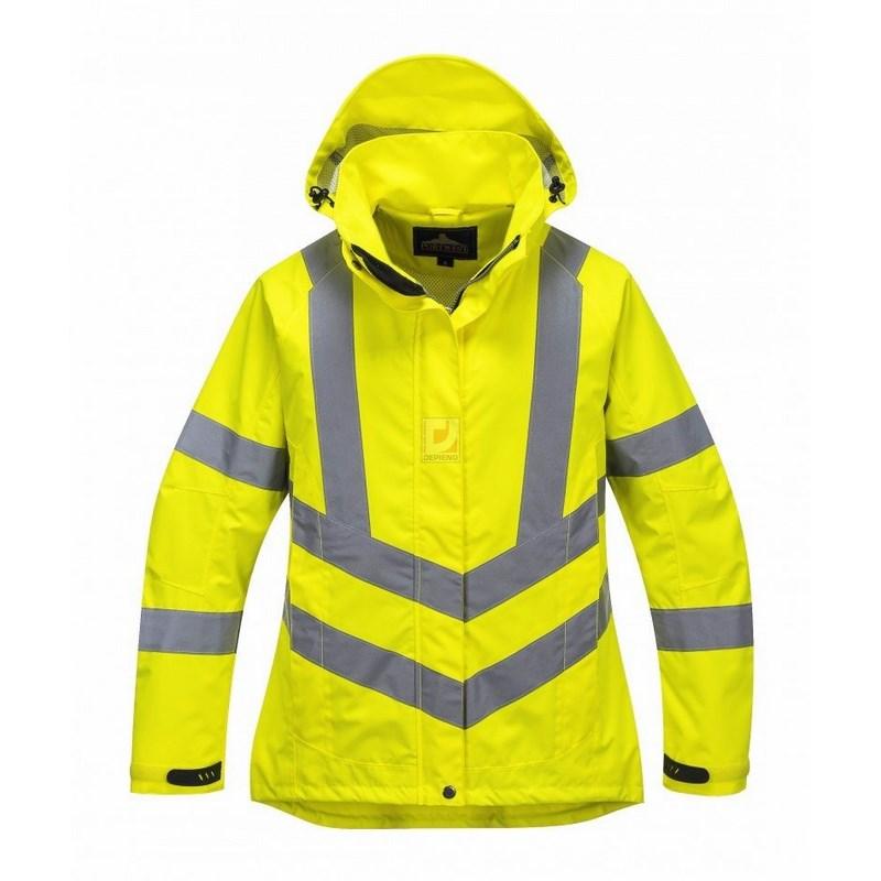 Női jól láthatósági lélegző kabát sárga 6aa13393fc