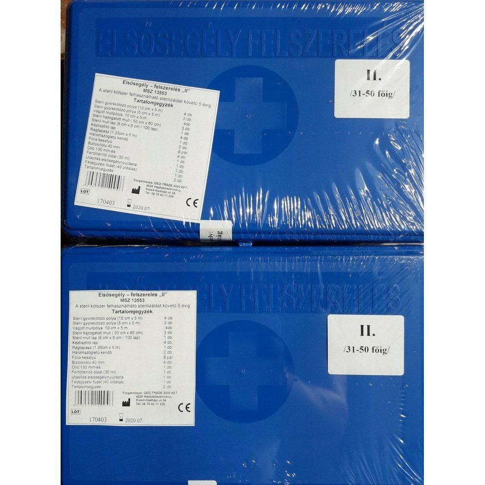 II munkahelyi elsősegély-felszerelés ( 31 - 50 fő ) kék dobozos