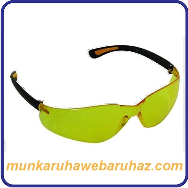 Polikarbonát szemüveg sárga lencsével, fekete kerettel
