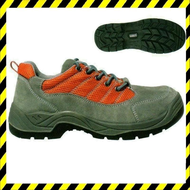 SPINELLE S1P szürke velúr cipő, szellőző narancs PES betét