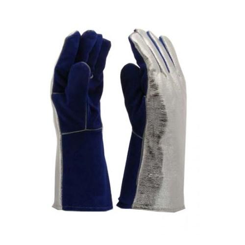 Bélelt kék marha hasítékbőr hegesztőkesztyű Alumínizált kézhát