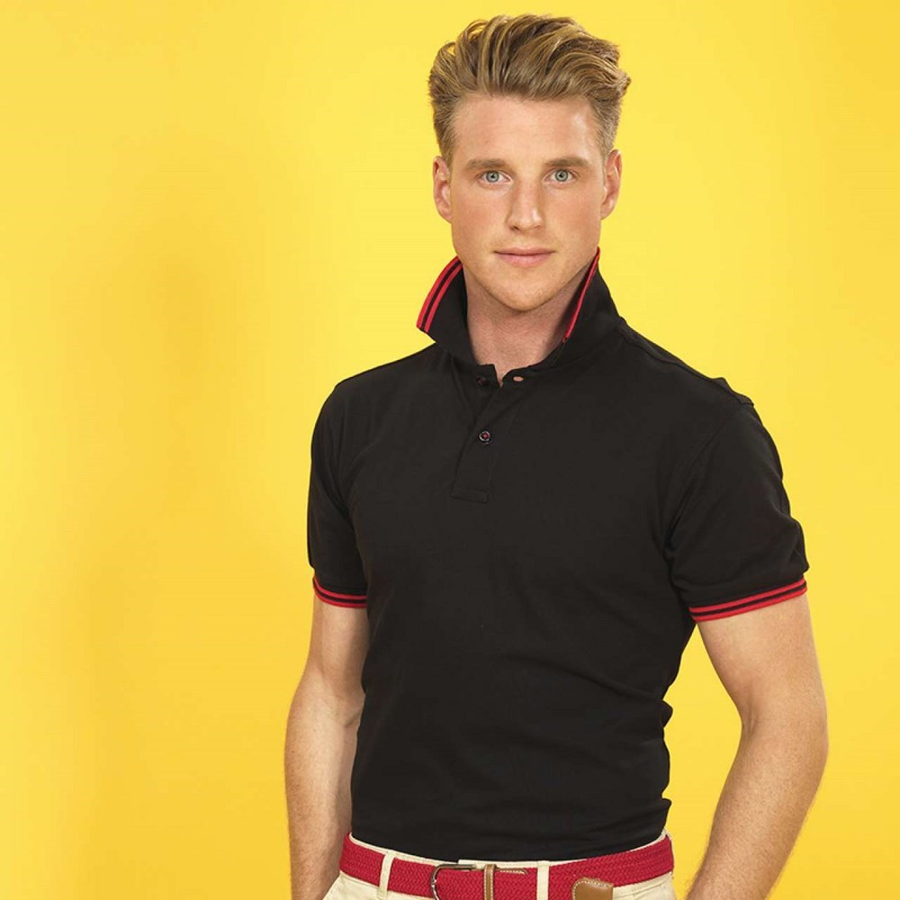 FÉRFI CLASSIC FIT TIPPED POLO / Fekete/Piros
