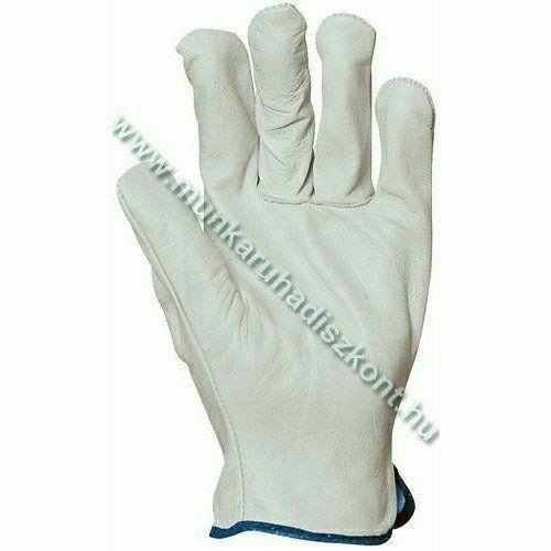 Szürke bivalybőrkesztyű,  tenyér- és hasíték bőr kézhát