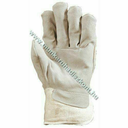 Szürke marhahasíték kesztyű tenyérbéléssel, vászon kézhát