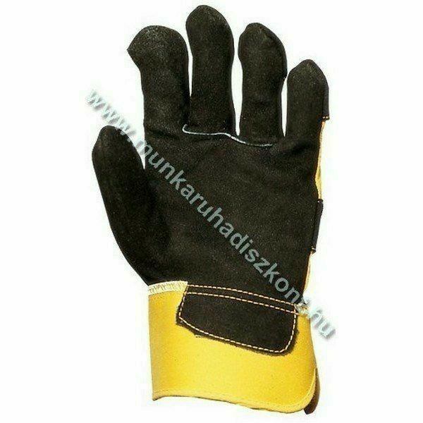 Prémium Rakodókesztyű-fekete marhahasíték sárga vászonnal