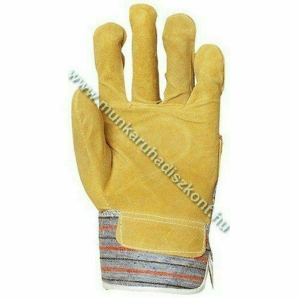 Munkavédelmi kesztyű Marhahasíték tenyérbéléssel, sárga