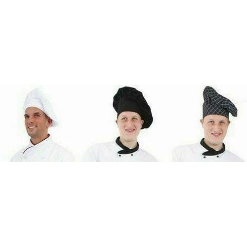 Séfsapka bőségráncokkal, magas fejtetővel, fehér, fekete, kockás