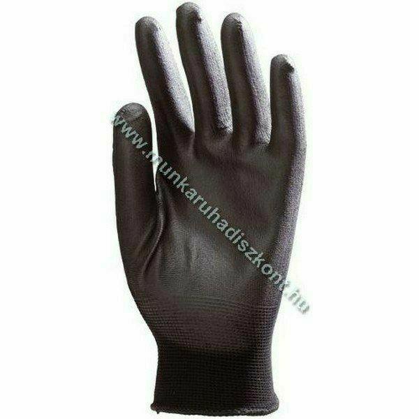 Fekete szerelőkesztyű, poliuretán tenyérrel