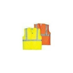 Fluo jól láthatósági mellény, 1 kereszt, 1 hosszanti csík, sárga