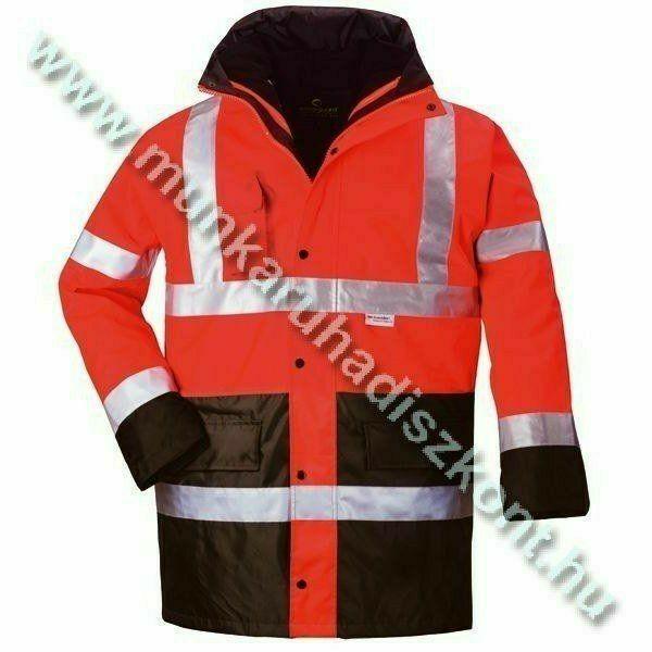 FLUO PE 4/1 piros/kék jól láthatósági kabát