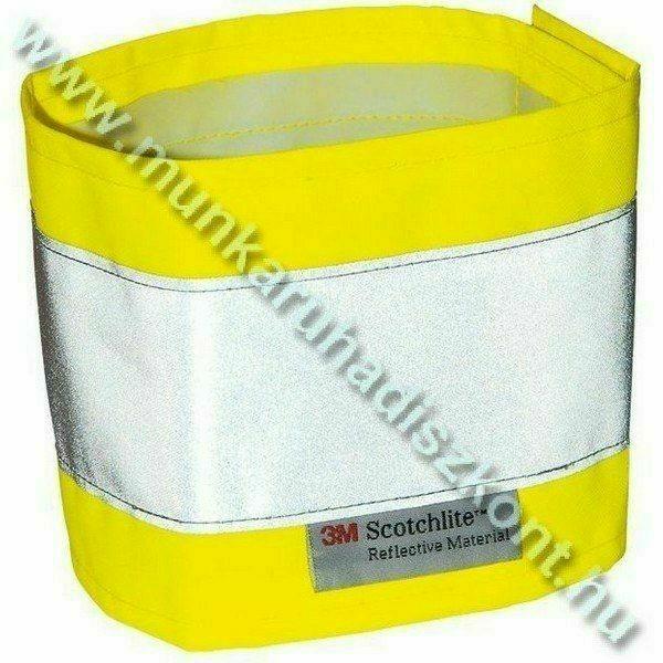 Fényvisszaverő karszalag, sárga, 300D Oxford PES/PU, 5cm