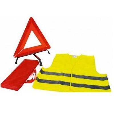 Közúti szett: jól láthatósági mellény + elakadásjelző háromszög