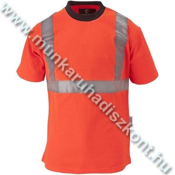 Narancs fluo munkaruha póló, 235 g/m2 bordázott, környakas