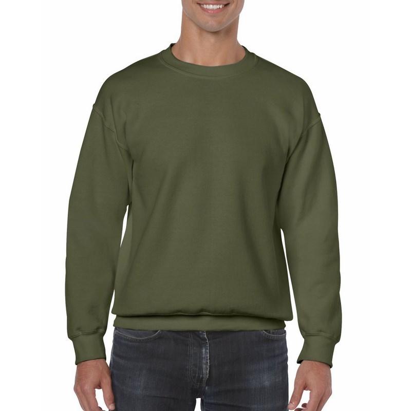 GILDAN KÖRNYAKÚ PULÓVER / Military Zöld