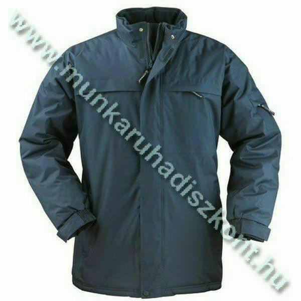 KABAN kék kabát, kényelmes belső, polár gallér, rejtett kapucni