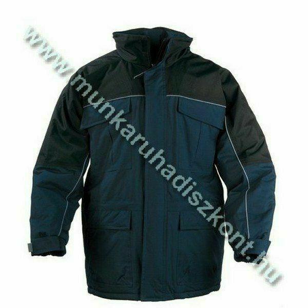 RIPSTOP sötétkék/fekete kabát, szakadás biztos anyag, polár bélé