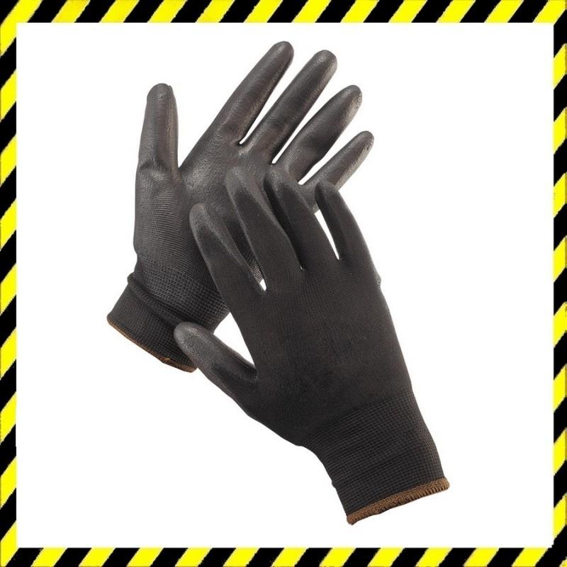 Bunting Black Light szerelőkesztyű PE/PU mártott tenyér fekete