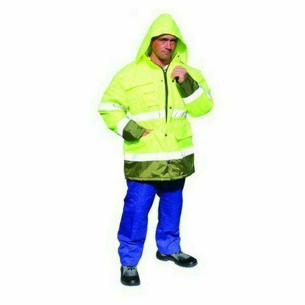 Téli jóláthatósági esőkabát kapucnival, citromsárga/zöld