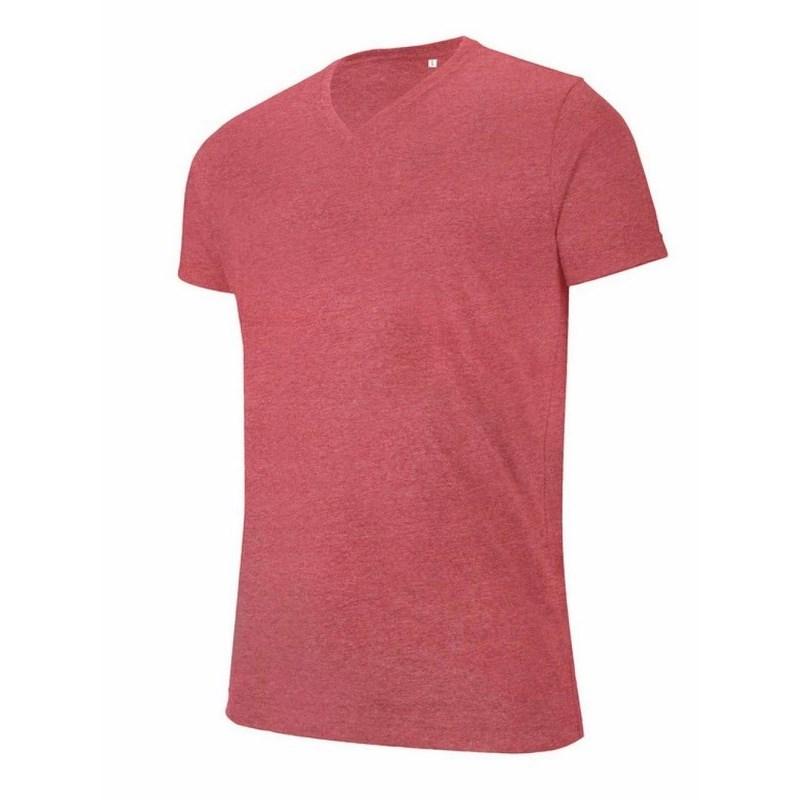 kariban Melange rövid ujjú férfi v nyakú póló   Piros e5671ba509