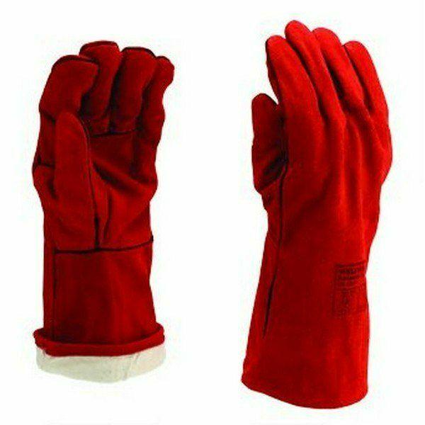 Bélelt piros marha hasítékbőr hegesztőkesztyű, A minőség