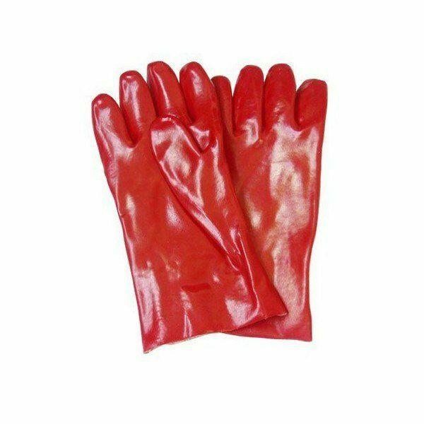 Piros PVC mártott kesztyű, 30cm hosszú méret 10