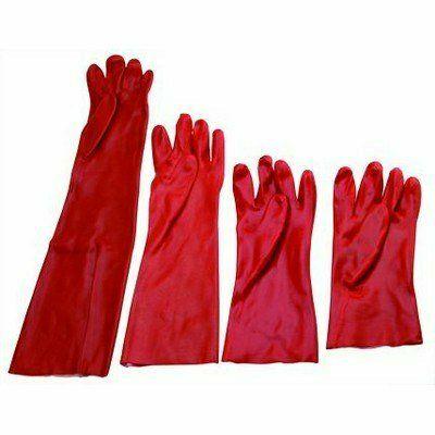 Piros PVC mártott kesztyű, 45cm hosszú Méret 10