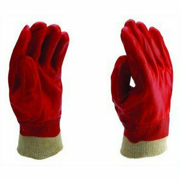 Piros PVC mártott kesztyű kötött mandzsettával