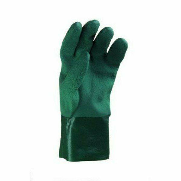 Zöld mártott PVC kesztyű érdesített tenyér- és kézfejjel Méret 1
