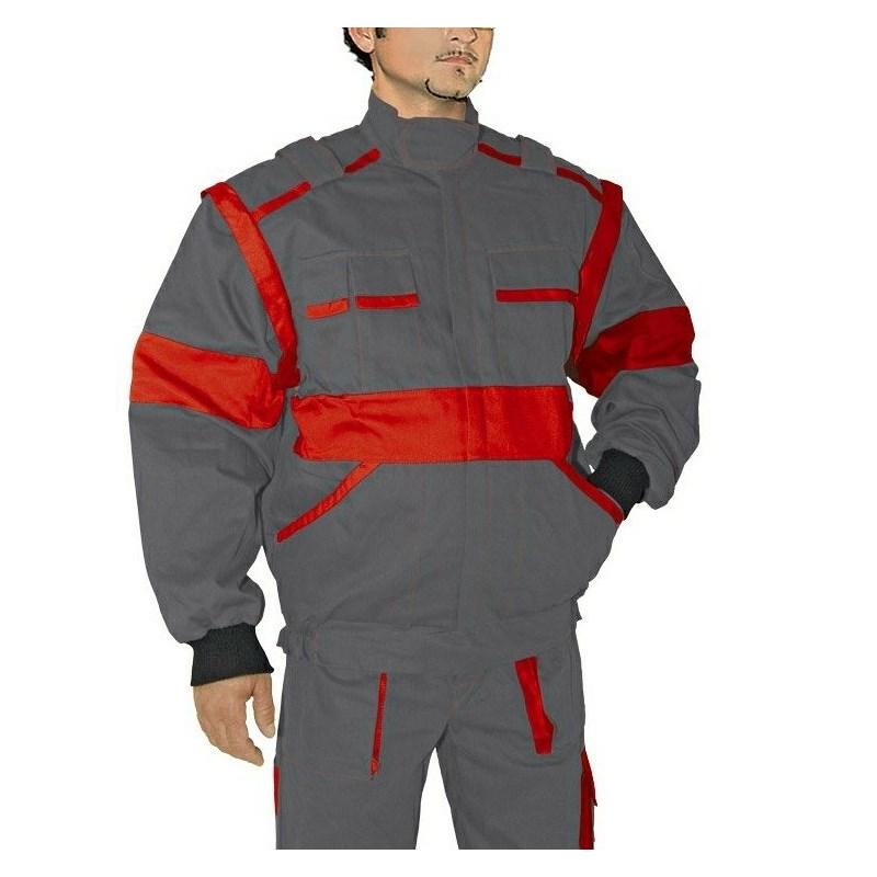 EDA szürke/piros kabát pamut, mellényé alakítható
